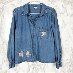 Christopher &Banks Denim Cat Embroidered Button Up